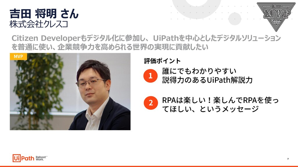 7 吉田 将明 さん 株式会社クレスコ Citizen Developerもデジタル化に参加し...