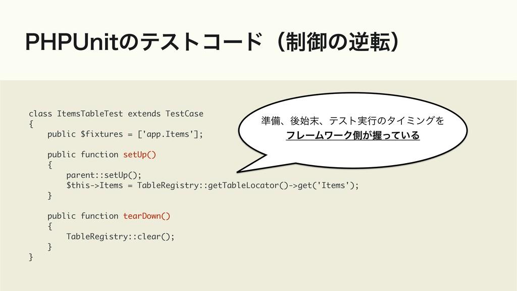 1)16OJUͷςετίʔυʢ੍ޚͷٯసʣ class ItemsTableTest exte...