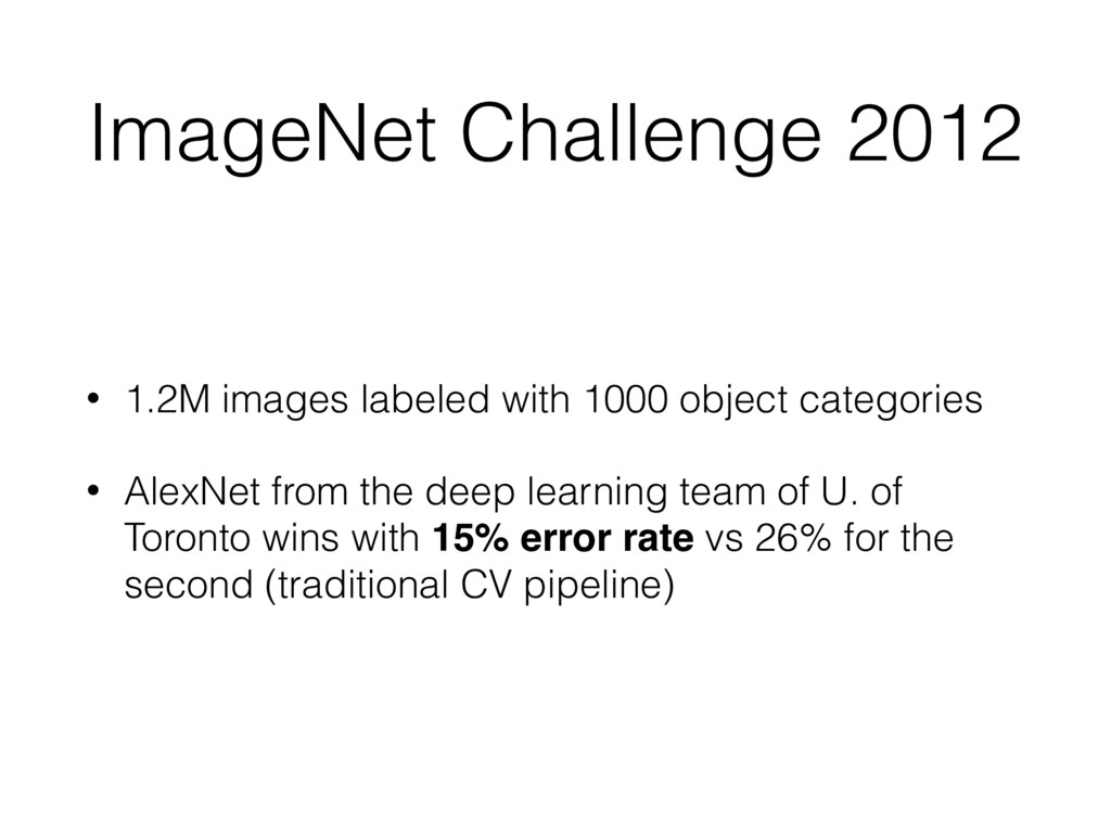 ImageNet Challenge 2012 • 1.2M images labeled w...