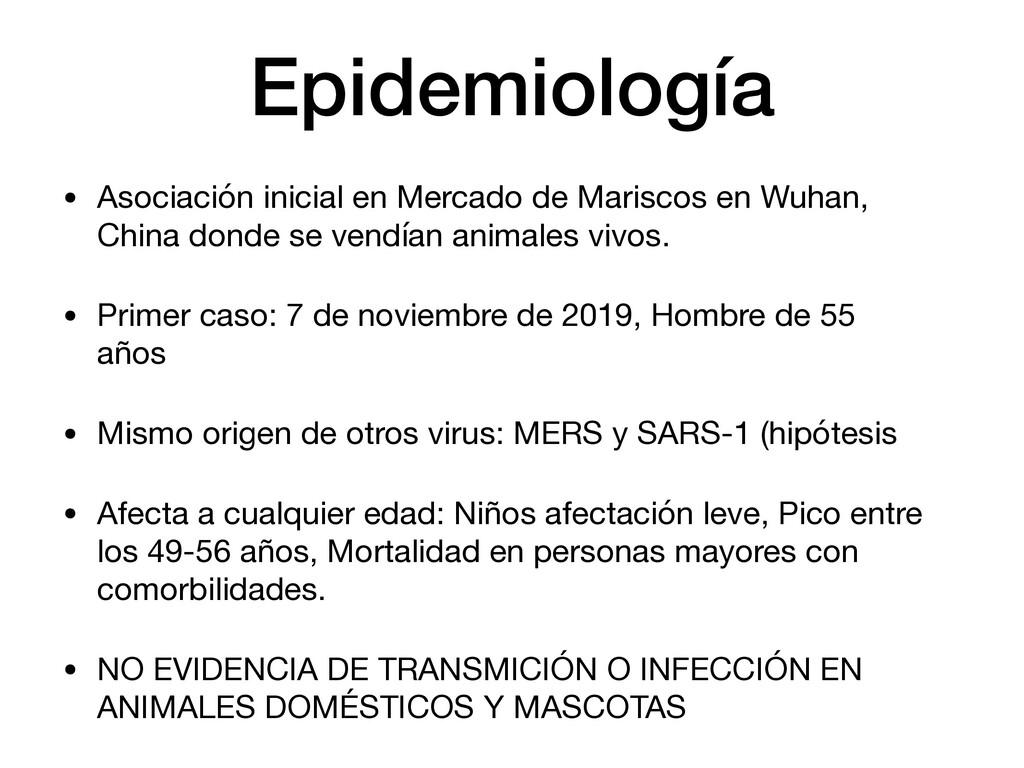 Epidemiología • Asociación inicial en Mercado d...