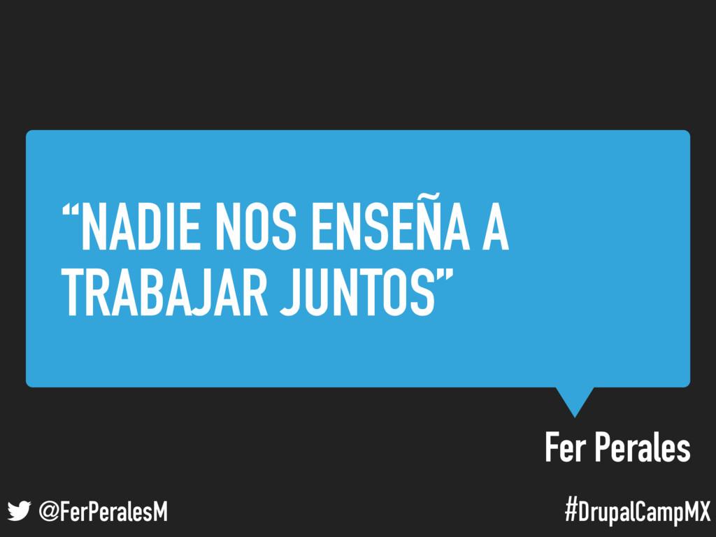 """#DrupalCampMX @FerPeralesM Fer Perales """"NADIE N..."""