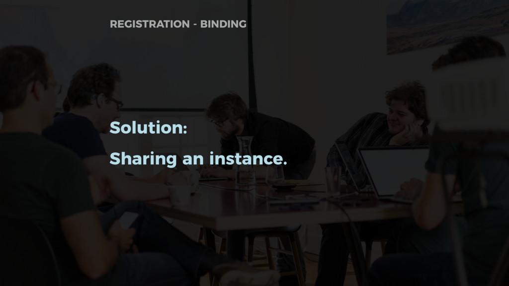 Solution: Sharing an instance. REGISTRATION - B...