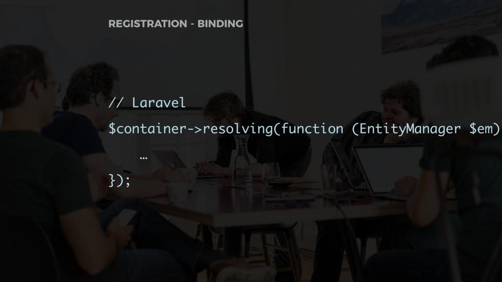 // Laravel $container->resolving(function (Enti...