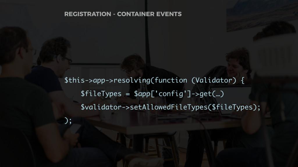 $this->app->resolving(function (Validator) { $f...
