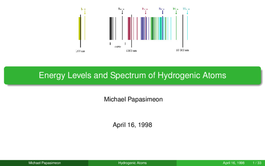 Energy Levels and Spectrum of Hydrogenic Atoms ...