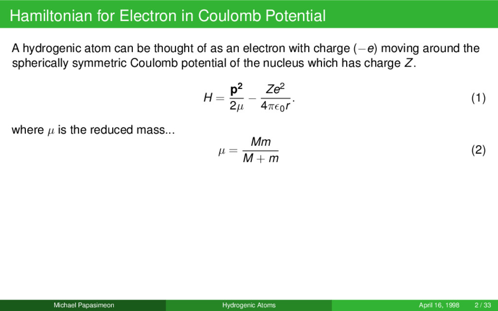 Hamiltonian for Electron in Coulomb Potential A...