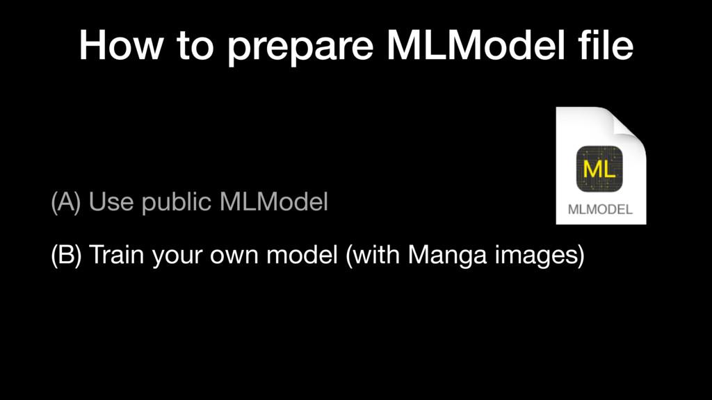 How to prepare MLModel file (A) Use public MLMod...
