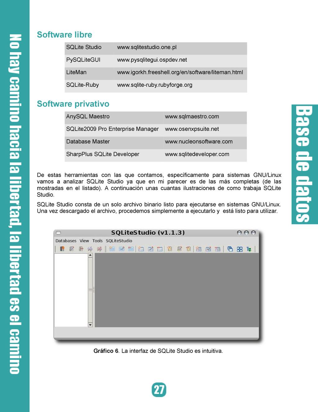 Software libre SQLite Studio www.sqlitestudio.o...
