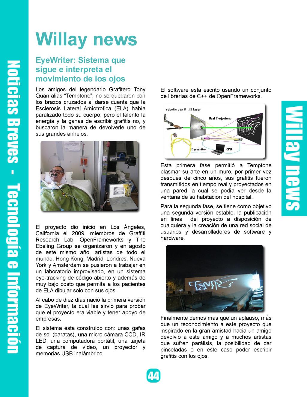 Willay news EyeWriter: Sistema que sigue e inte...