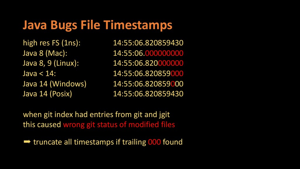 Java Bugs File Timestamps high res FS (1ns): 14...