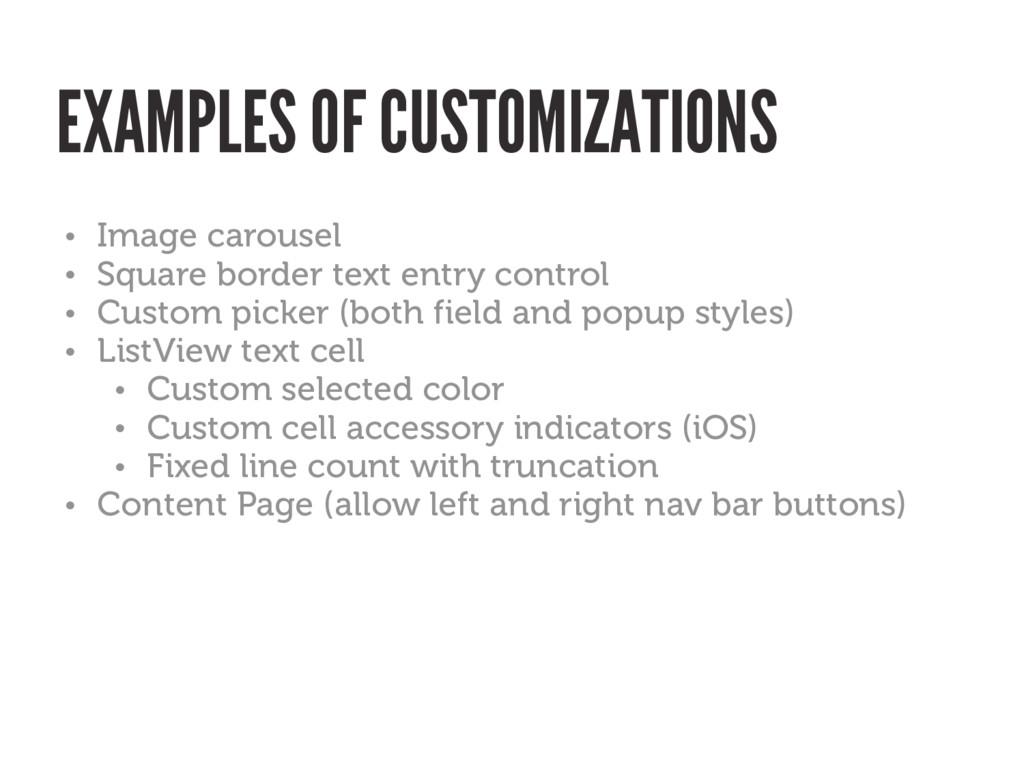 • Image carousel • Square border text entry con...