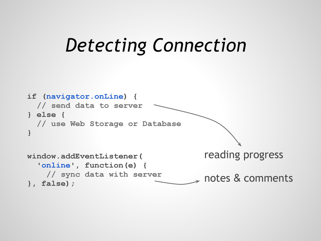 Detecting Connection if (navigator.onLine) { //...