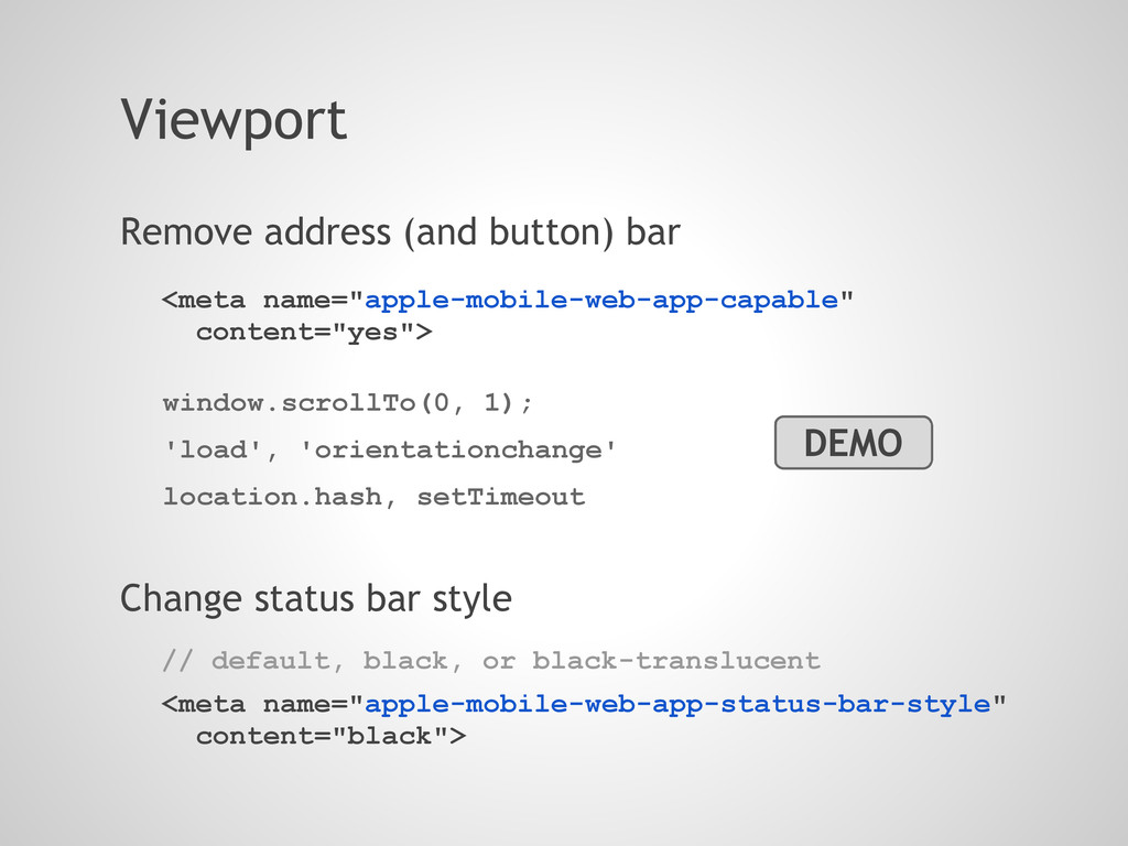Viewport Remove address (and button) bar window...