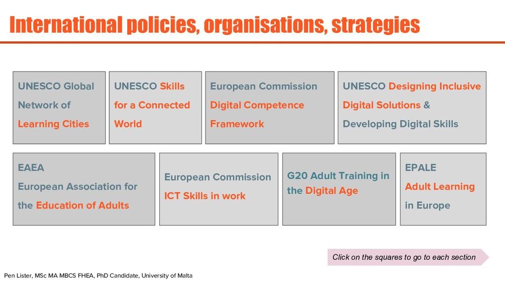 International policies, organisations, strategi...