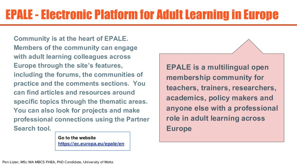 EPALE - Electronic Platform for Adult Learning ...