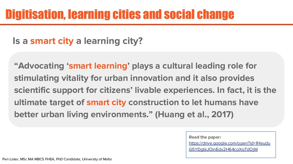 Digitisation, learning cities and social change...