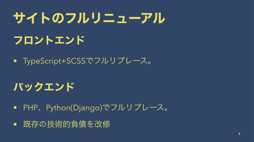 αΠτͷϑϧϦχϡʔΞϧ ϑϩϯτΤϯυ • TypeScript+SCSSͰϑϧϦϓϨʔεɻ...