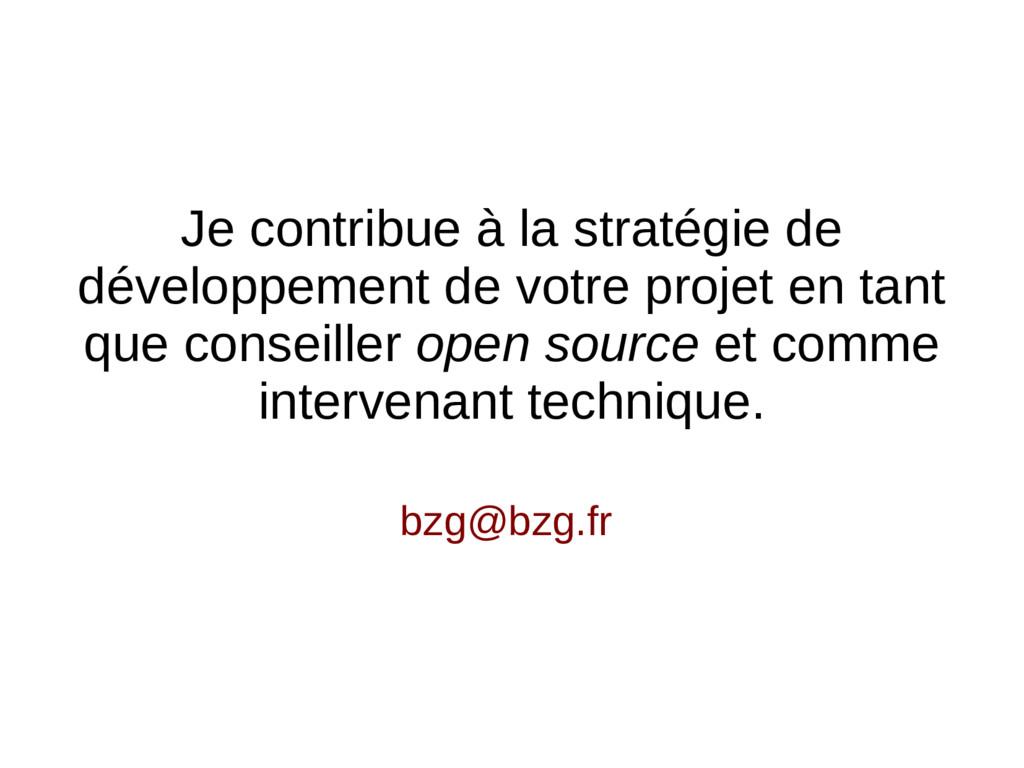 bzg@bzg.fr Je contribue à la stratégie de dével...
