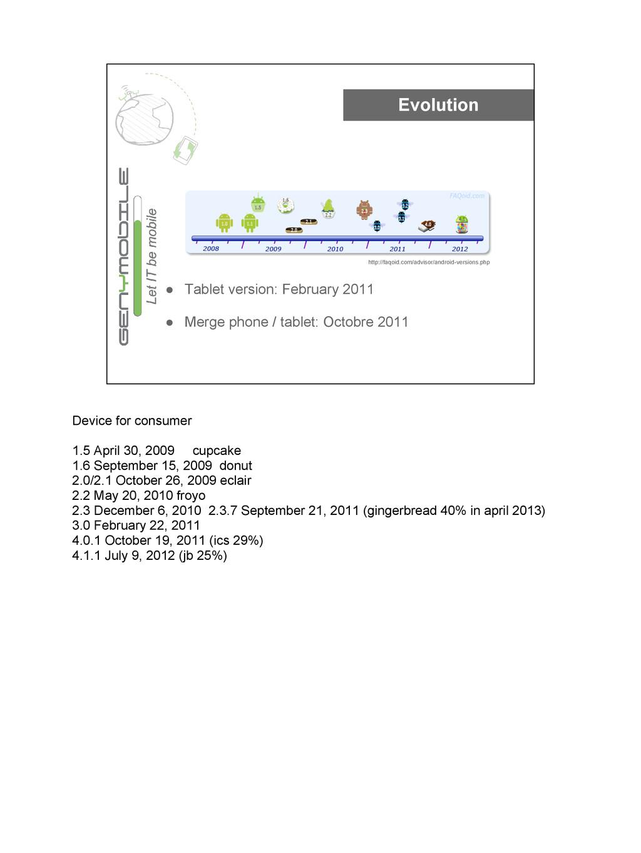 Evolution ● Tablet version: February 2011 ● Mer...