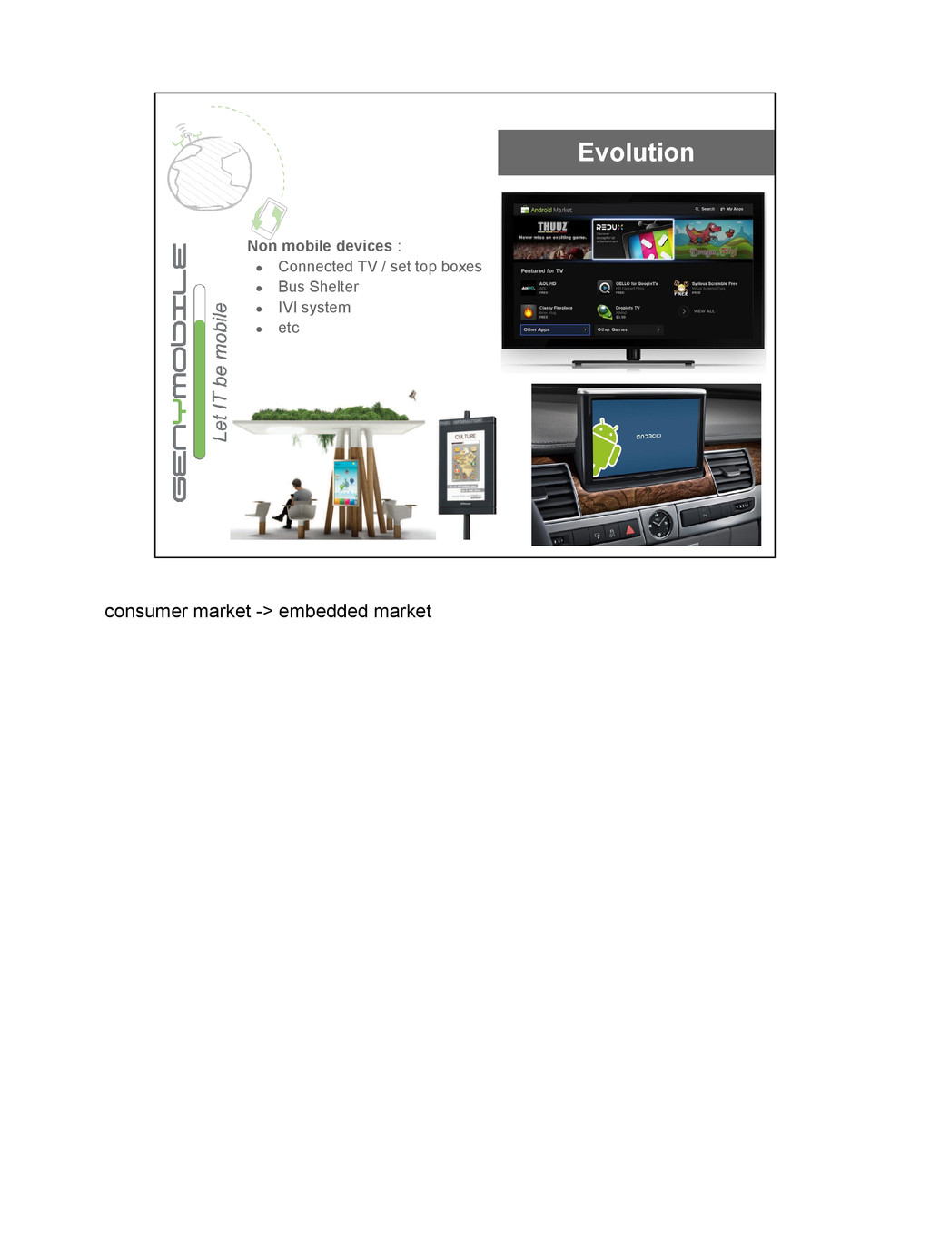 Evolution Non mobile devices : ● Connected TV /...