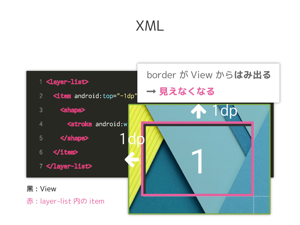 """1 <layer-list> 2 <item android:top=""""-1dp"""" andro..."""