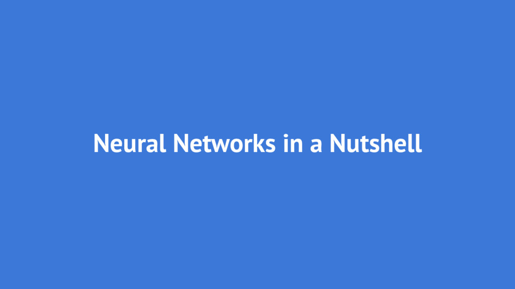 Neural Networks in a Nutshell