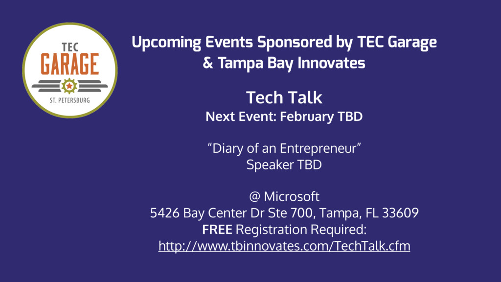 Upcoming Events Sponsored by TEC Garage
