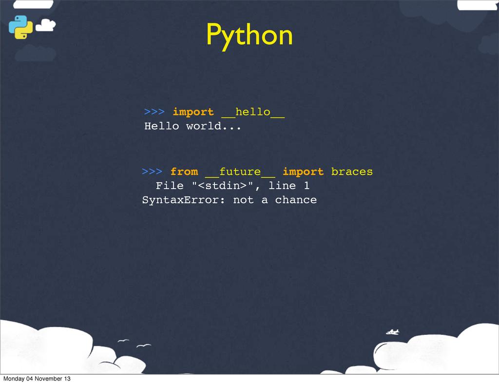 Python >>> import __hello__ Hello world... >>> ...