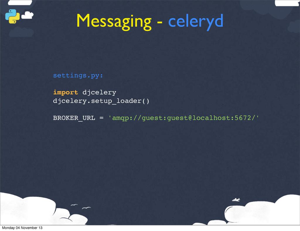Messaging - celeryd settings.py: import djceler...