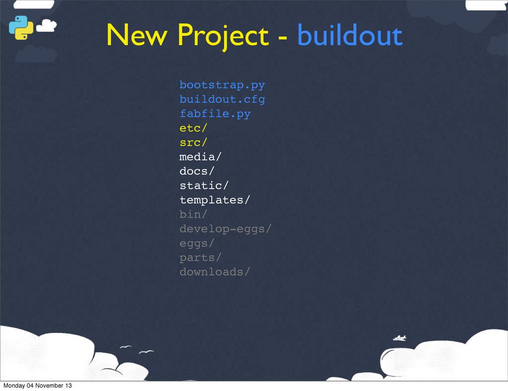 New Project - buildout bootstrap.py buildout.cf...