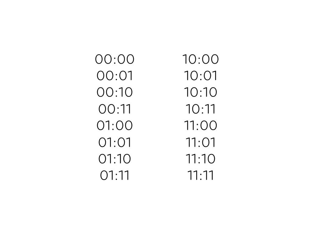 00:00 00:01 00:10 00:11 01:00 01:01 01:10 01:11...