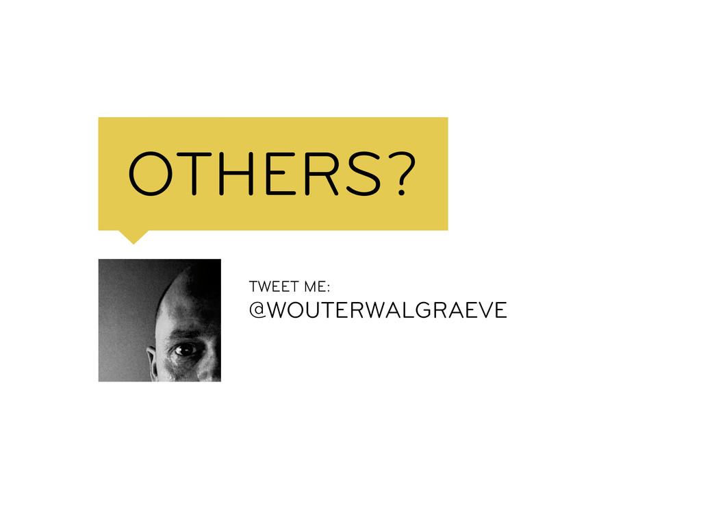 OTHERS? TWEET ME: @WOUTERWALG...
