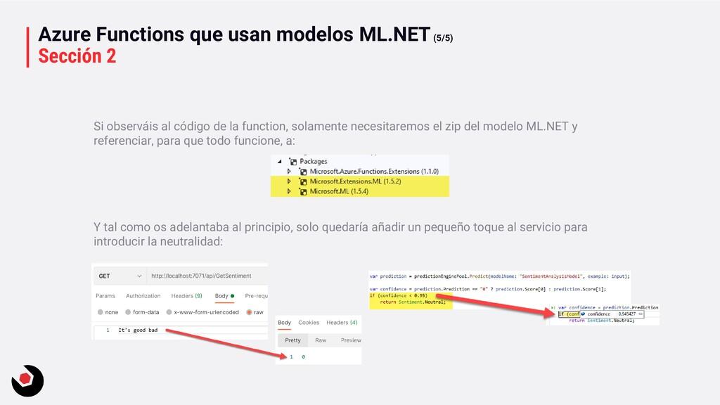 Azure Functions que usan modelos ML.NET(5/5) Se...