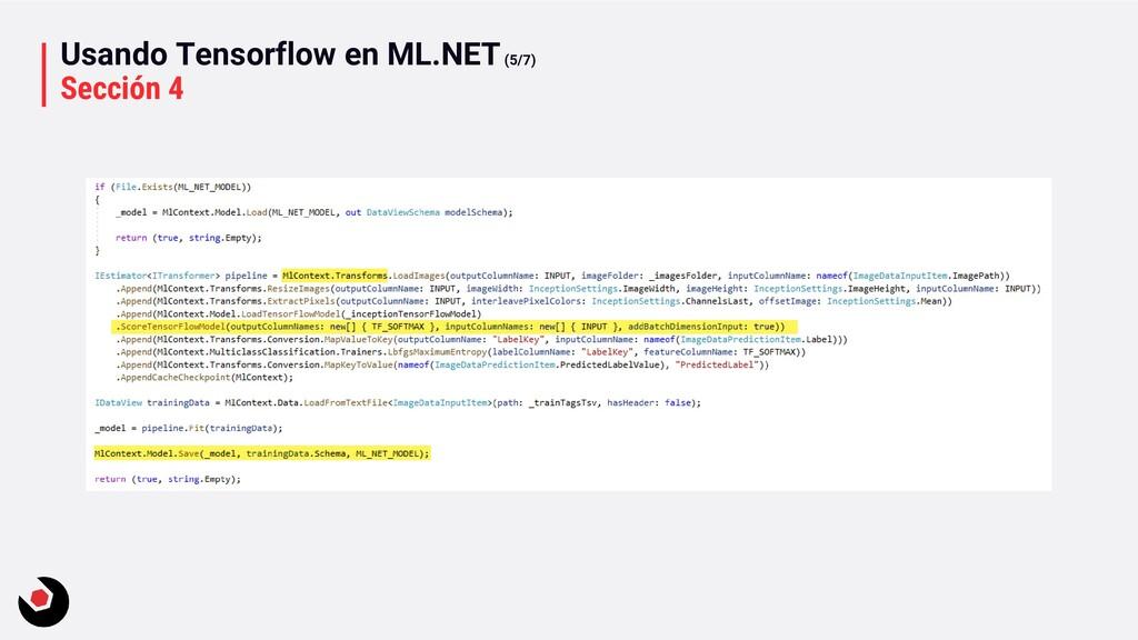 Usando Tensorflow en ML.NET(5/7) Sección 4