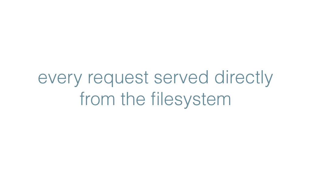 every request served directly from the filesystem