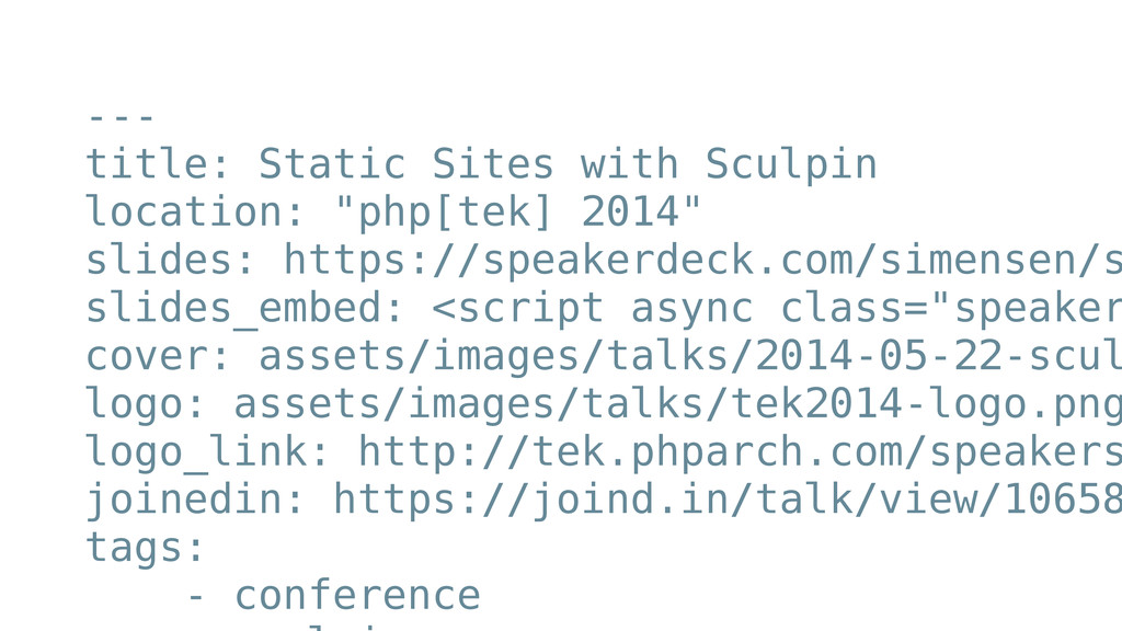 --- title: Static Sites with Sculpin location: ...