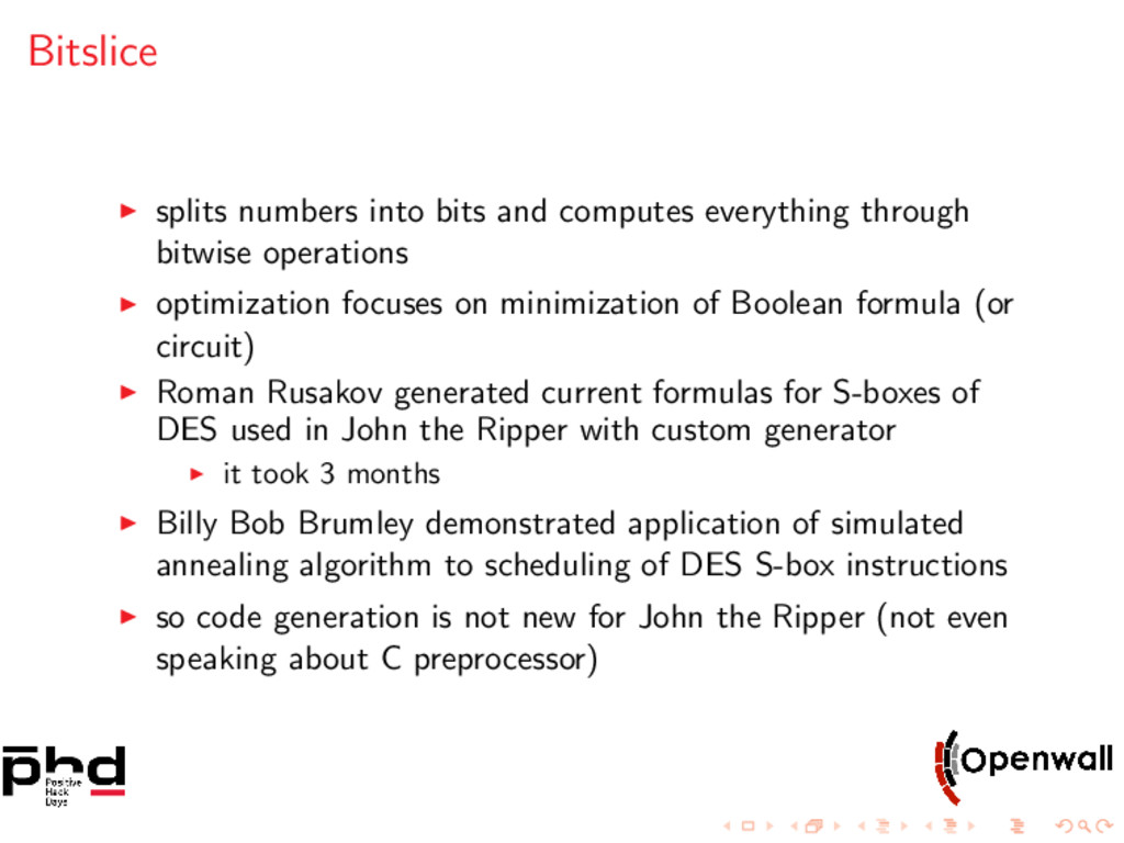 Bitslice splits numbers into bits and computes ...