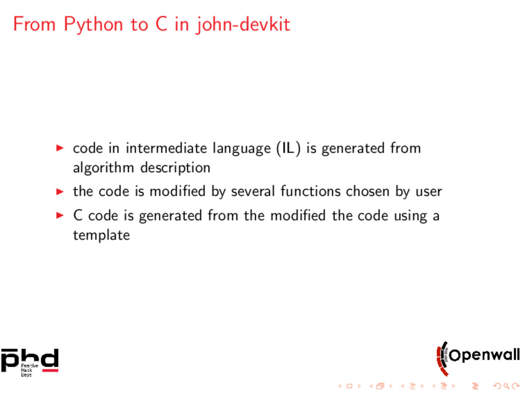 From Python to C in john-devkit code in interme...