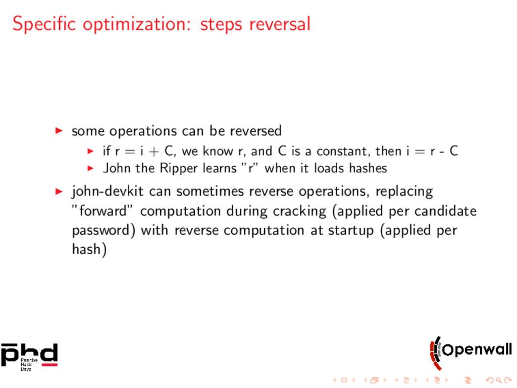 Specific optimization: steps reversal some opera...