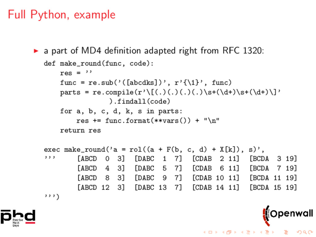 Full Python, example a part of MD4 definition ad...