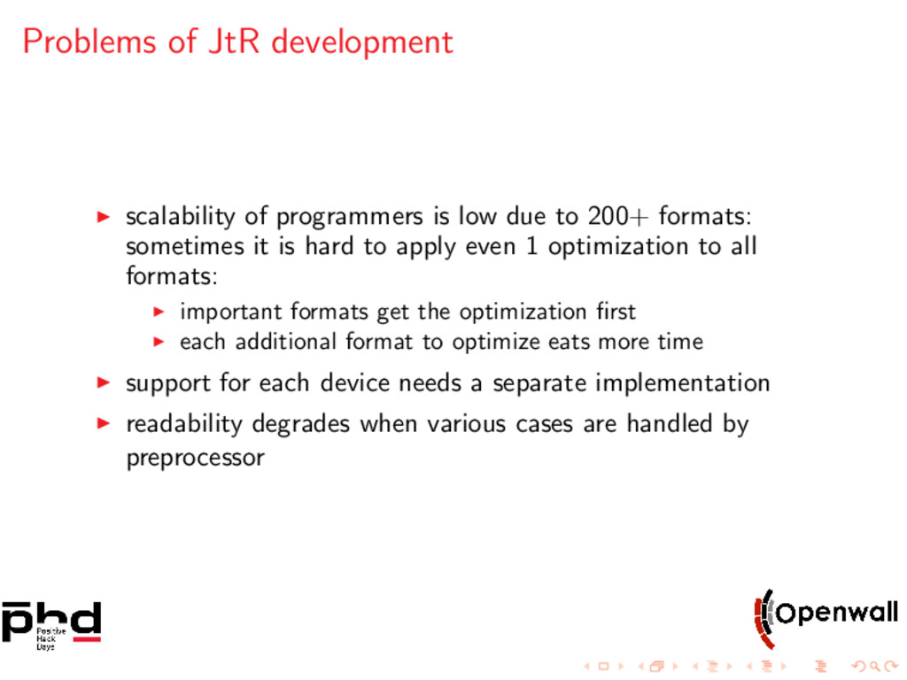 Problems of JtR development scalability of prog...