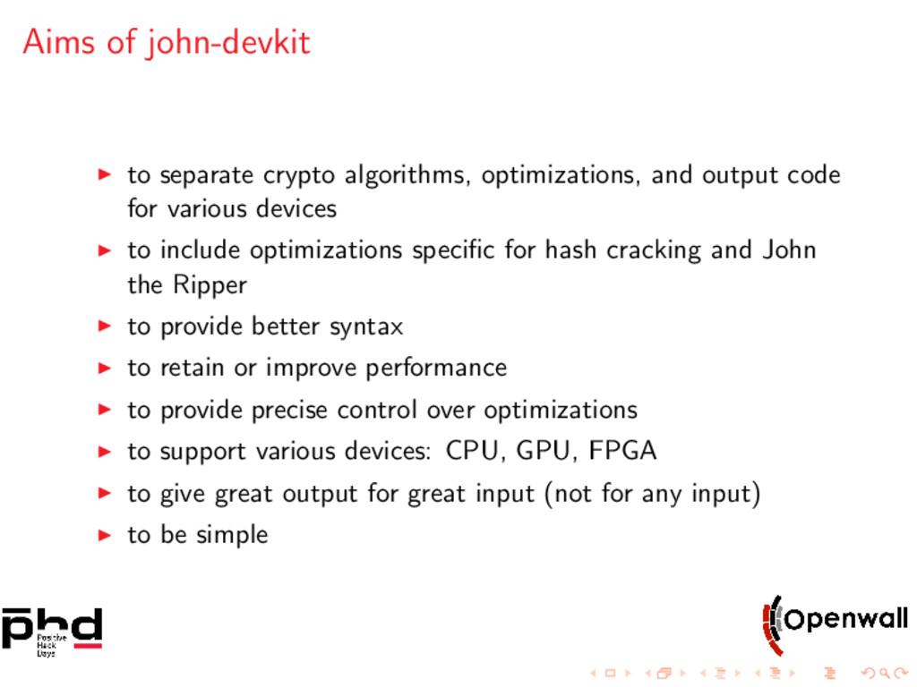 Aims of john-devkit to separate crypto algorith...