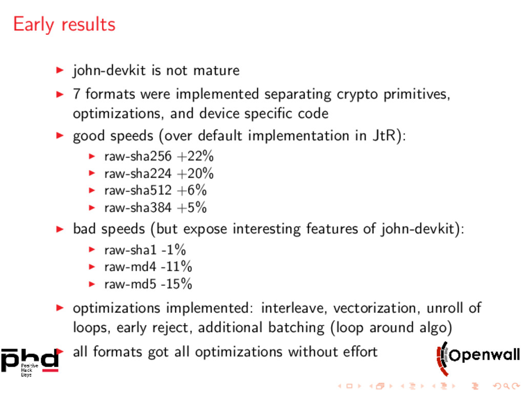 Early results john-devkit is not mature 7 forma...
