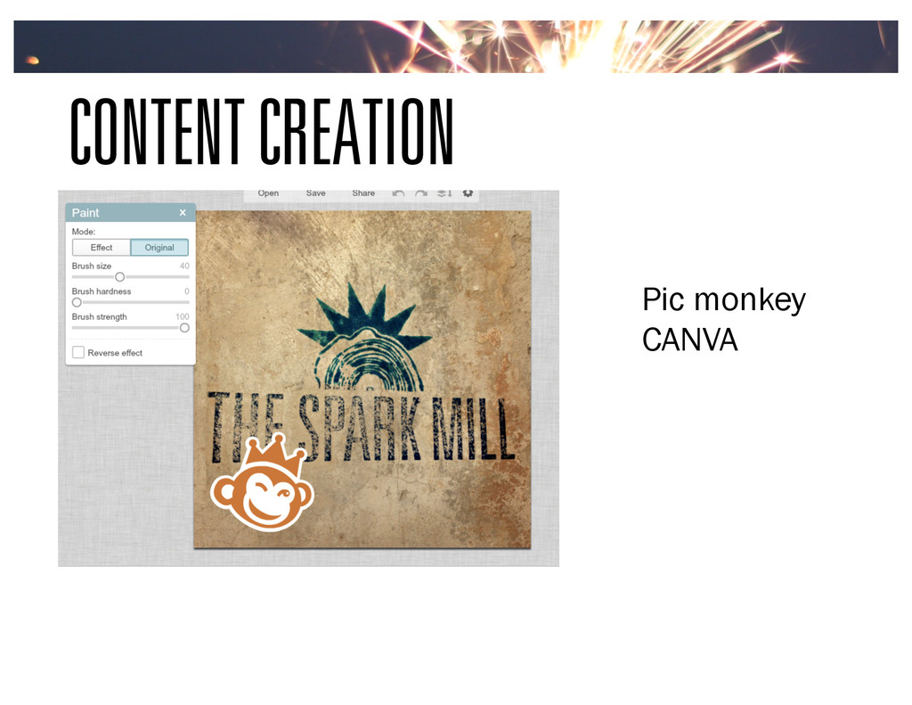 CONTENT CREATION Pic monkey CANVA