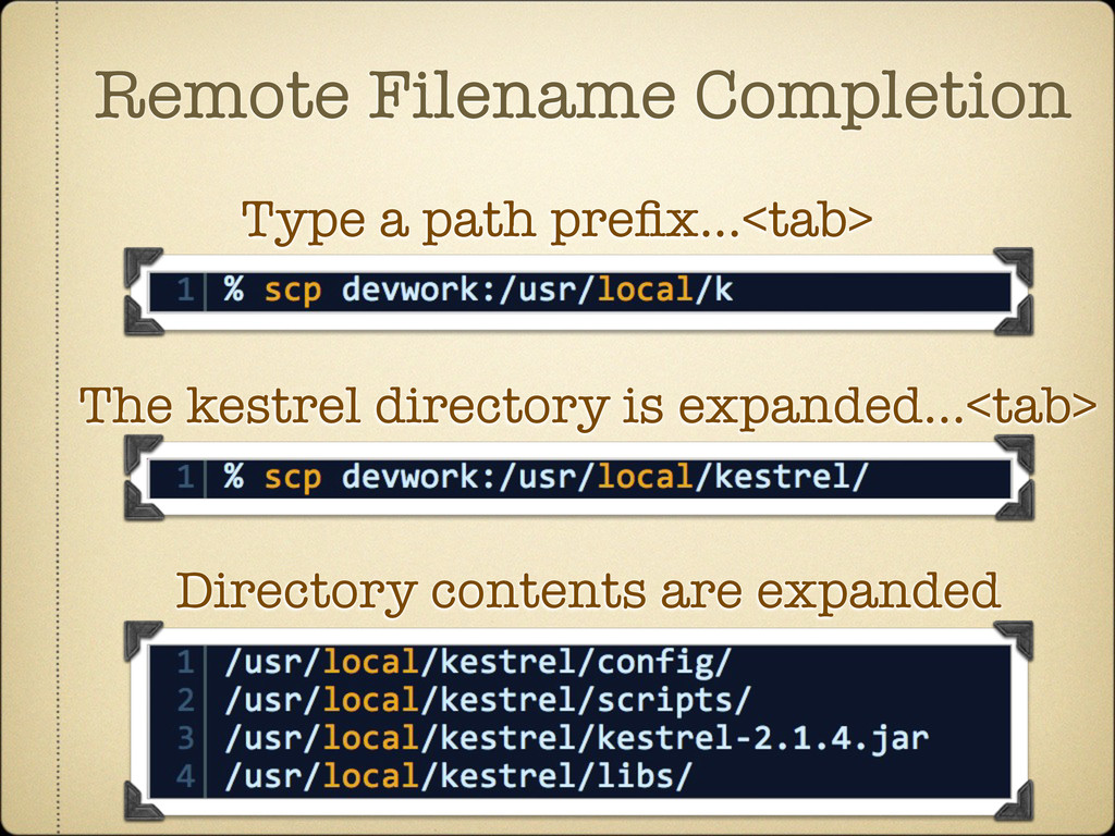 Remote Filename Completion Type a path prefix......