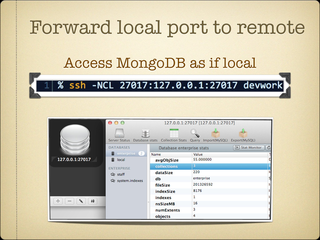Forward local port to remote Access MongoDB as ...