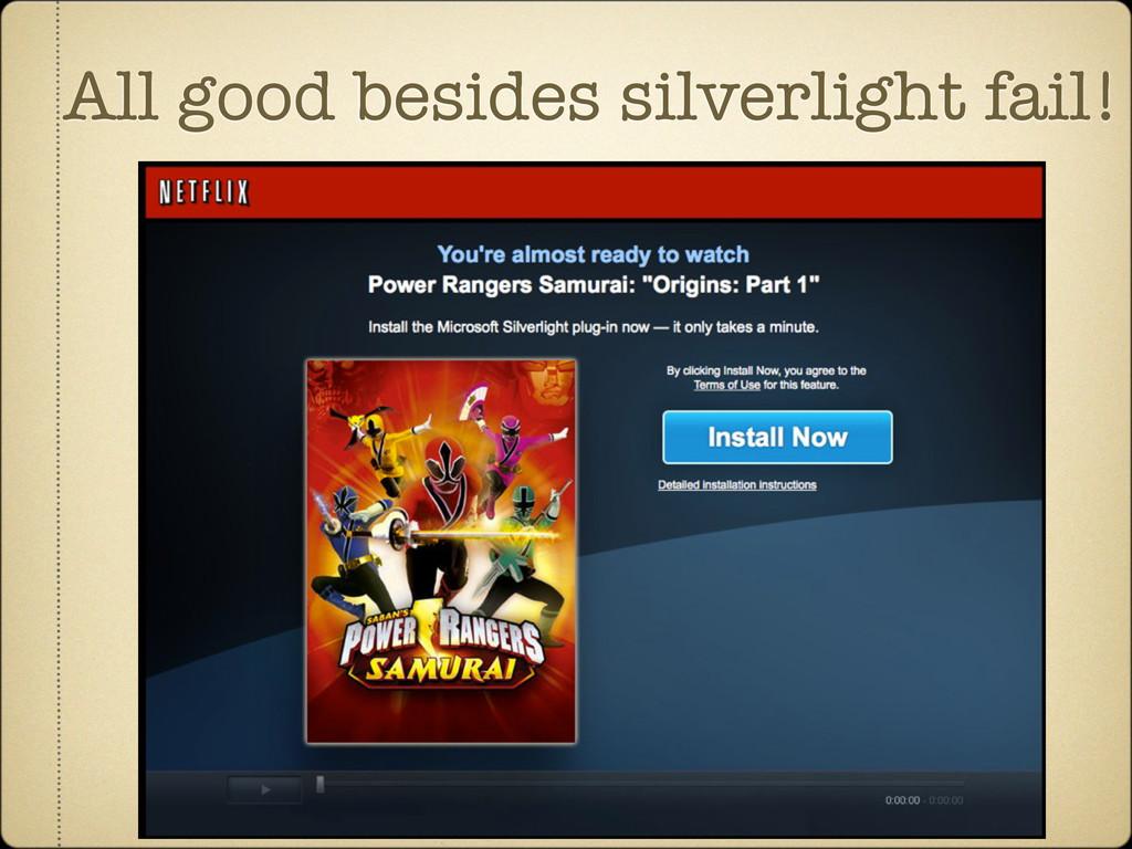 All good besides silverlight fail!