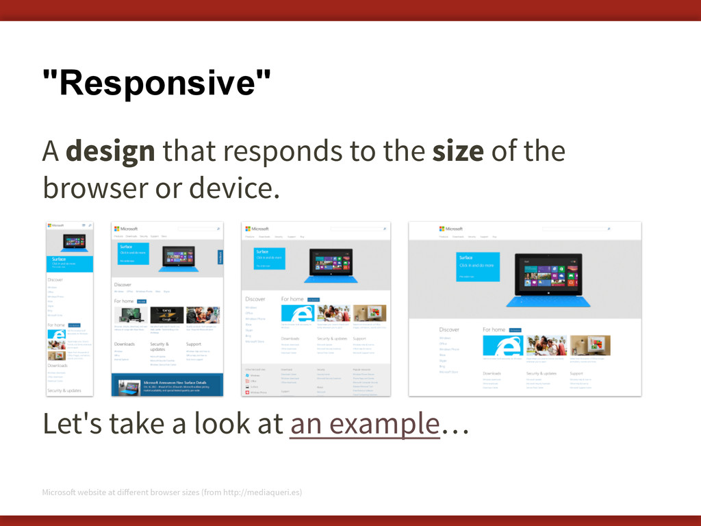 """Responsive"" A design that responds to the size..."