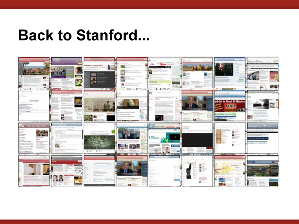 Back to Stanford...