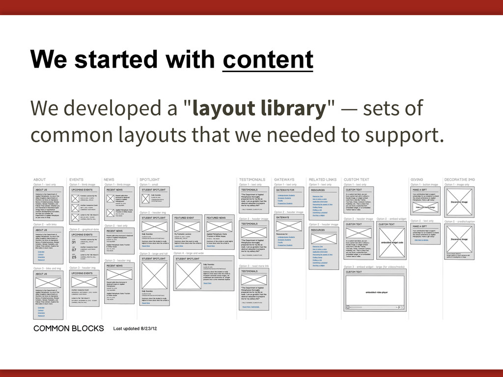 "We started with content We developed a ""layout ..."